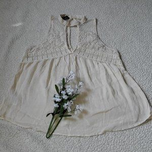 American Eagle Outfitters Ivory Laced Halter Top